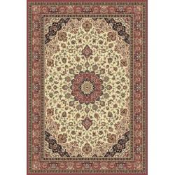 Tappeto persiano Isfahan classico medaglione crema-rosa 12217