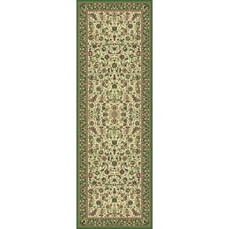 Tappeto persiano Tabriz classico passatoia medaglione crema-verde 12311