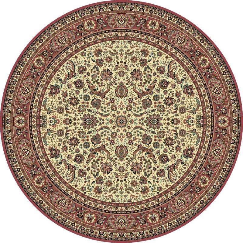 Carpet classico Tabriz classico rotondo floreale crema-rosa 13720