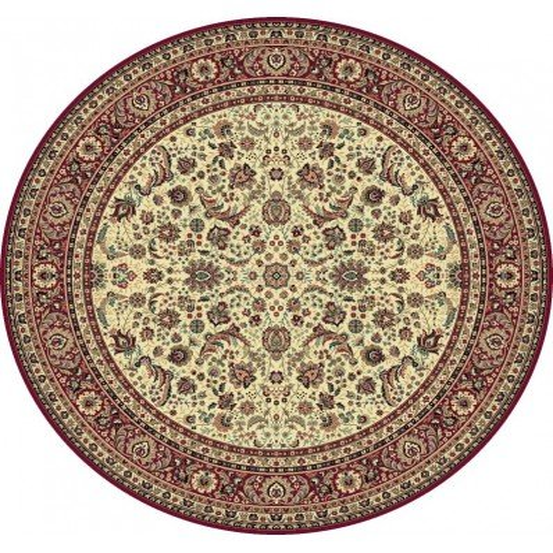 Carpet classico Tabriz classico rotondo floreale crema-rosso 13720