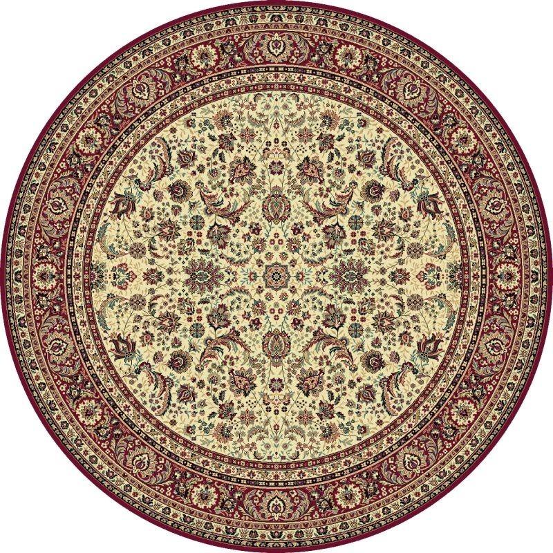 Tappeto persiano Tabriz classico rotondo floreale crema-rosso 13720