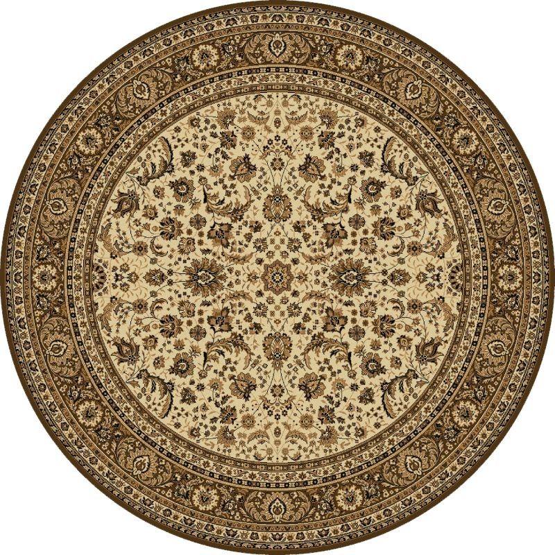 Tappeto persiano Tabriz classico rotondo floreale crema-marrone 13720