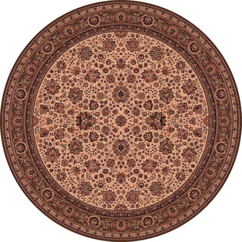 Carpet classico Tabriz fine lana rotondo crema-marrone 1570-504