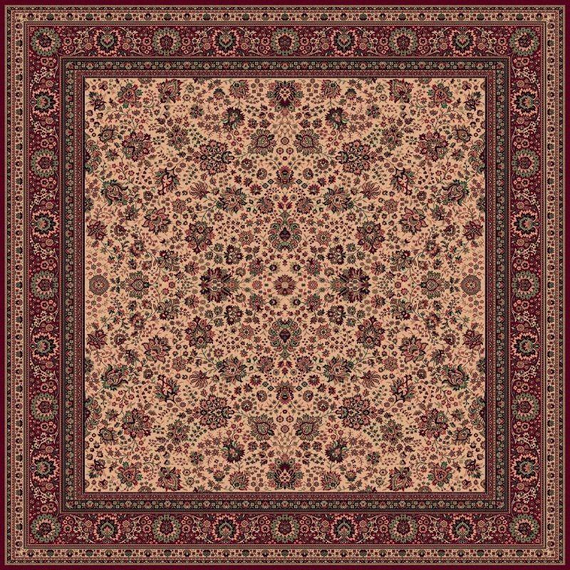 Tappeto persiano Tabriz fine lana quadrato beige-rosso 1561-505