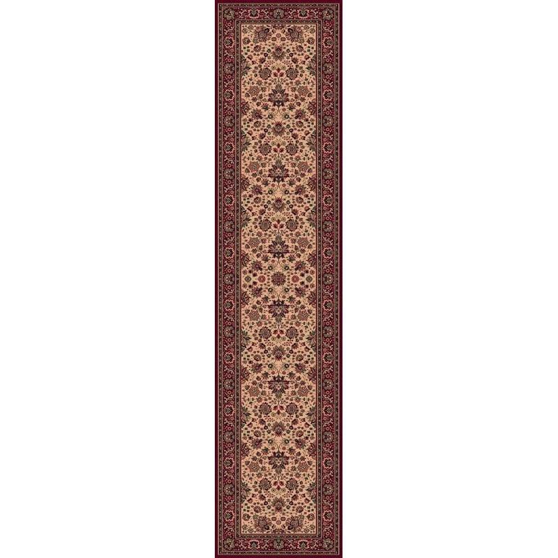 Carpet classico Tabriz fine lana passatoia beige-rosso 1561-505