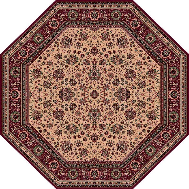 Carpet classico Tabriz fine lana ottagonale beige-rosso 1516-505