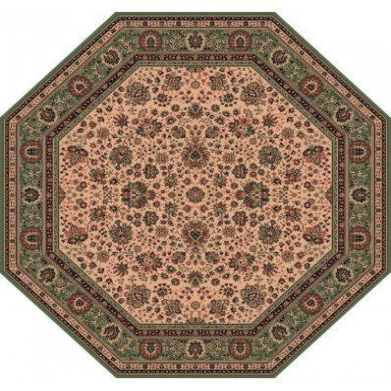Carpet classico Tabriz fine lana ottagonale crema-verde 1516-508