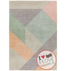 tappeto design Dash Da01 Pastel Multi con cuscino gemello multicolor