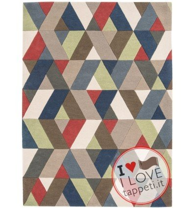 tappeto design Funk 01 Chevron Multi con cuscino gemello multicolor