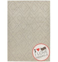 tappeto design Nomad Nm03 Natural con cuscino gemello bianco/beige/tortora