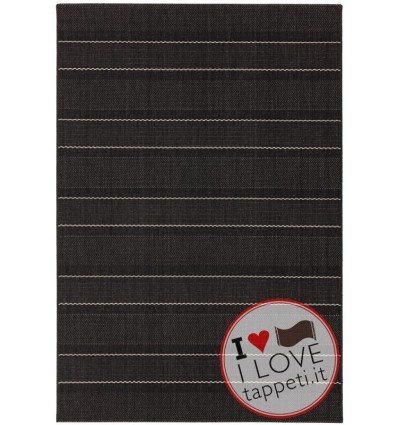 tappeto moderno Patio 05 Charcoal Stripe grigio/nero/antracite