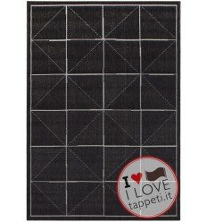tappeto moderno Patio 07 Charcoal Check grigio/nero/antracite
