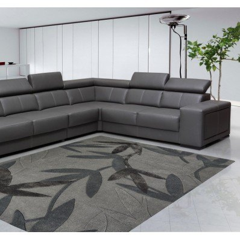 Tappeto moderno Foglie Natalia Pepe (-35%) grey cm.160x240 di SITAP