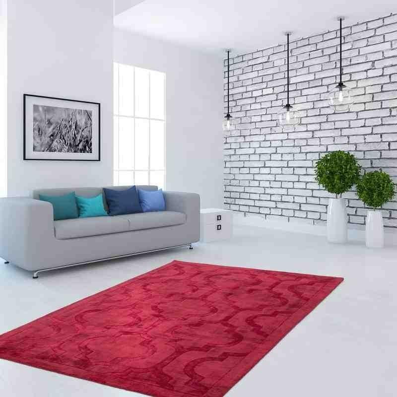 tappeto moderno vintage bangladesh rajshahi rosso seta