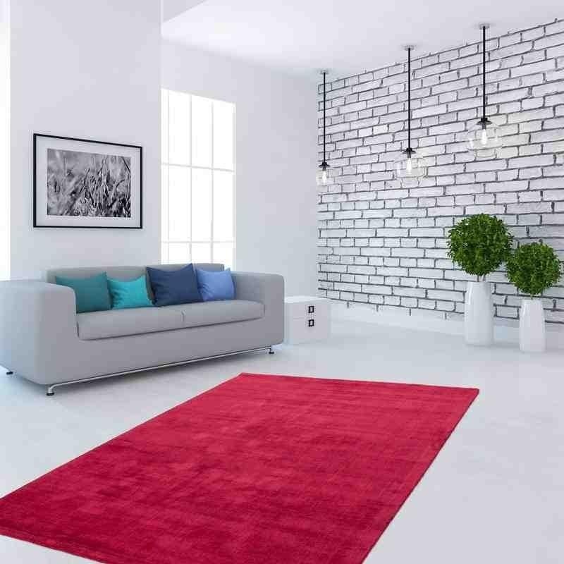 tappeto moderno tinta unita bangladesh dhaka rosso seta