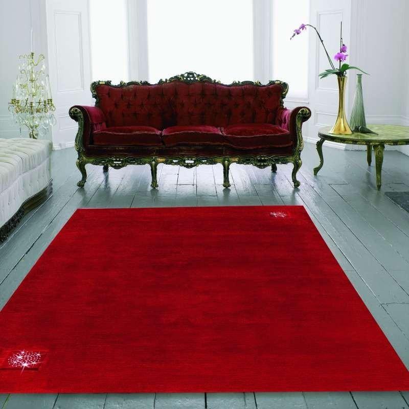 tappeto moderno Swarovski Princess red cm.170x240