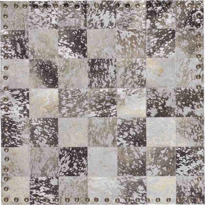 Tappeto Sitap Stringhe Pelle Lurex Grey-Silver